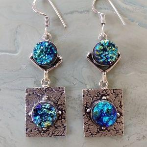 Nice druzy stamped 925 earrings